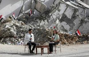 """التلفزيون المصري يبث حلقة """"صباح الخير"""" على أنقاض أبراج غزة المدمرة - فيديو"""