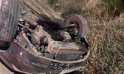 إصابتان بحادث انقلاب مركبة شرق نابلس